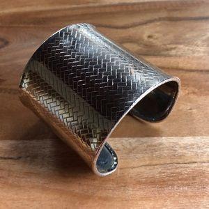 Silver Chevron Stripe Metal Cuff Bracelet